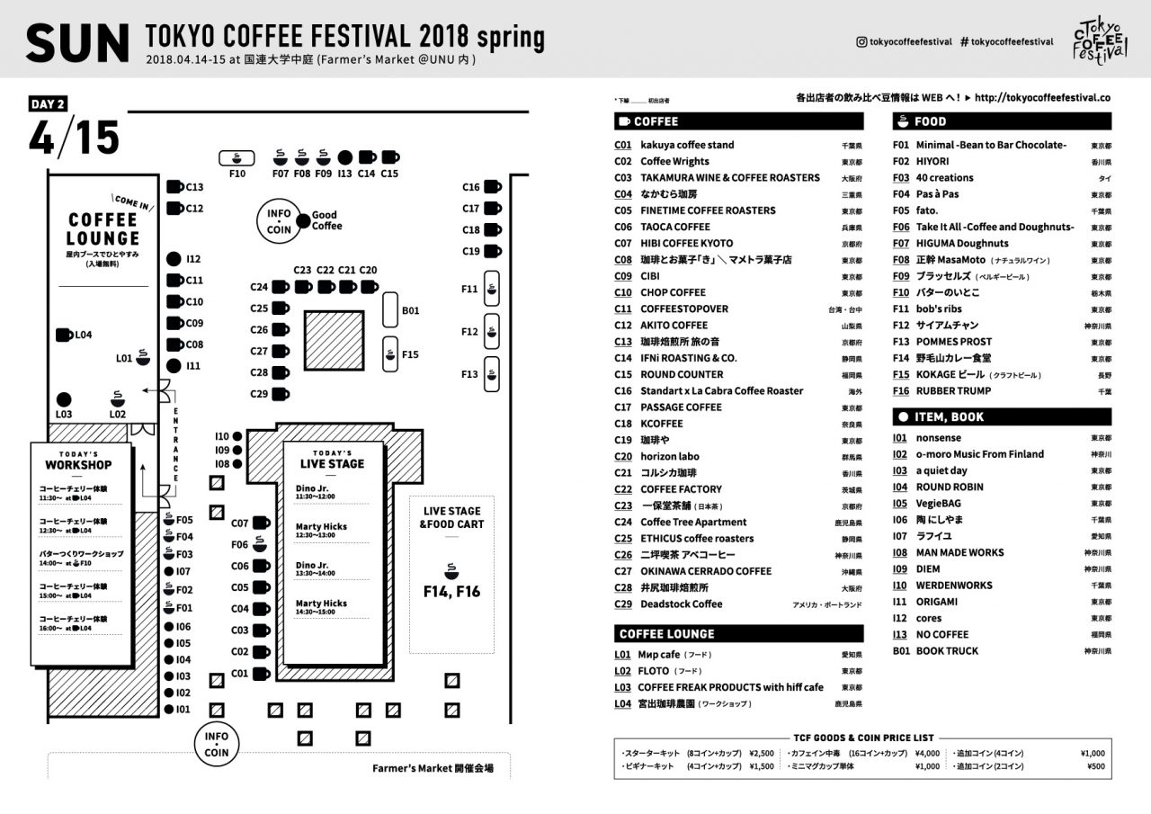 TOKYO COFFEE FESTIVAL 2018 Spring MAP - 04月15日 (日)