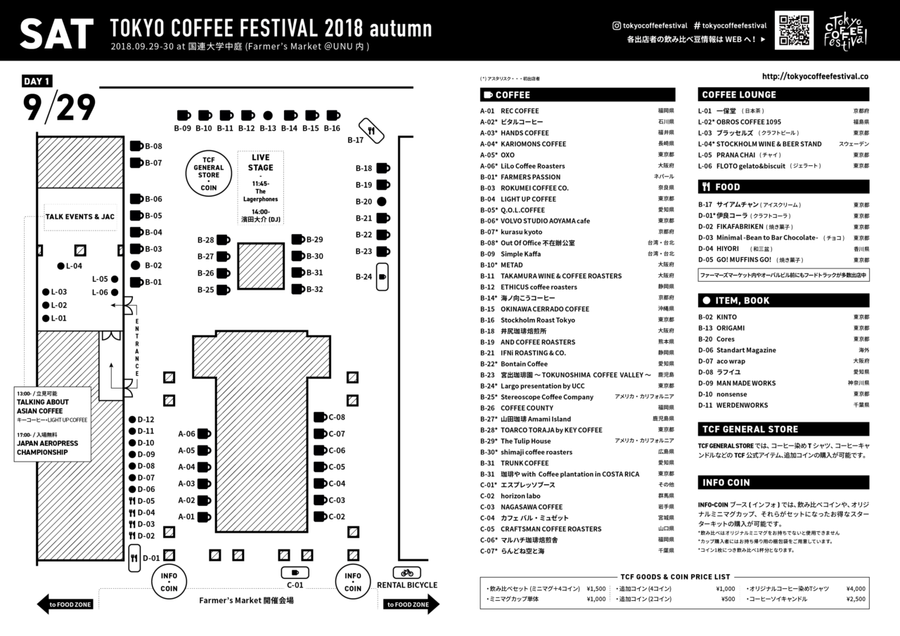 TOKYO COFFEE FESTIVAL 2018 autumn MAP - 09月29日 (日)