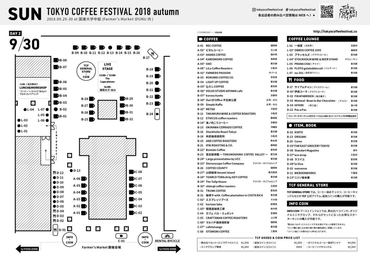 TOKYO COFFEE FESTIVAL 2018 autumn MAP - 09月30日 (月)